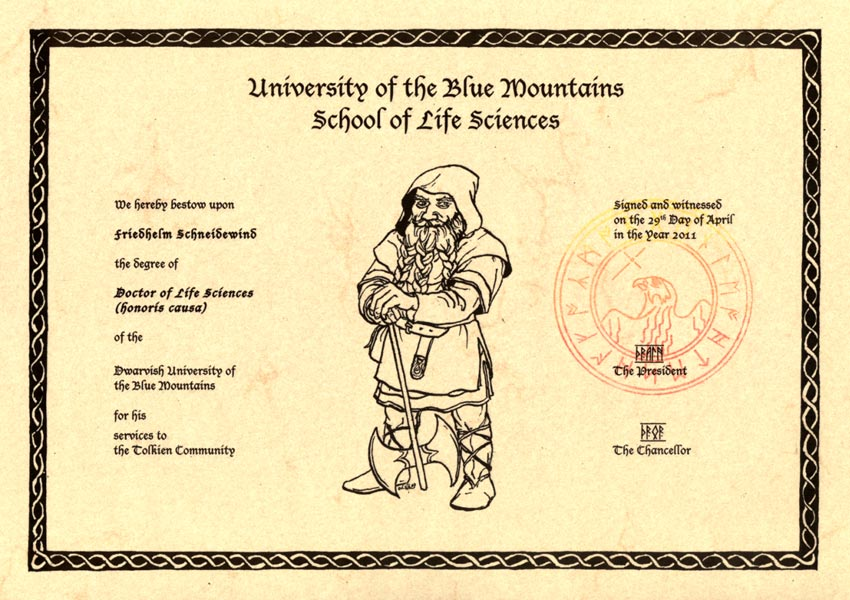 Urkunde zur Verleihung des Doctor of Life Science (Honoris Causa) der Dwarvish University of the Blue Mountains 2011